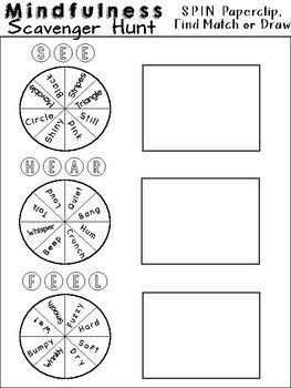 MINDFULNESS Scavenger Hunt Worksheets: For Relaxation and