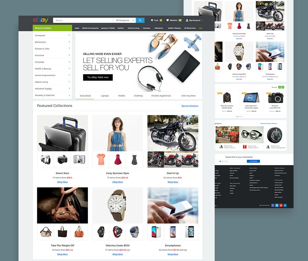 Download eBay Website Template Free PSD. This is a concept landing ...