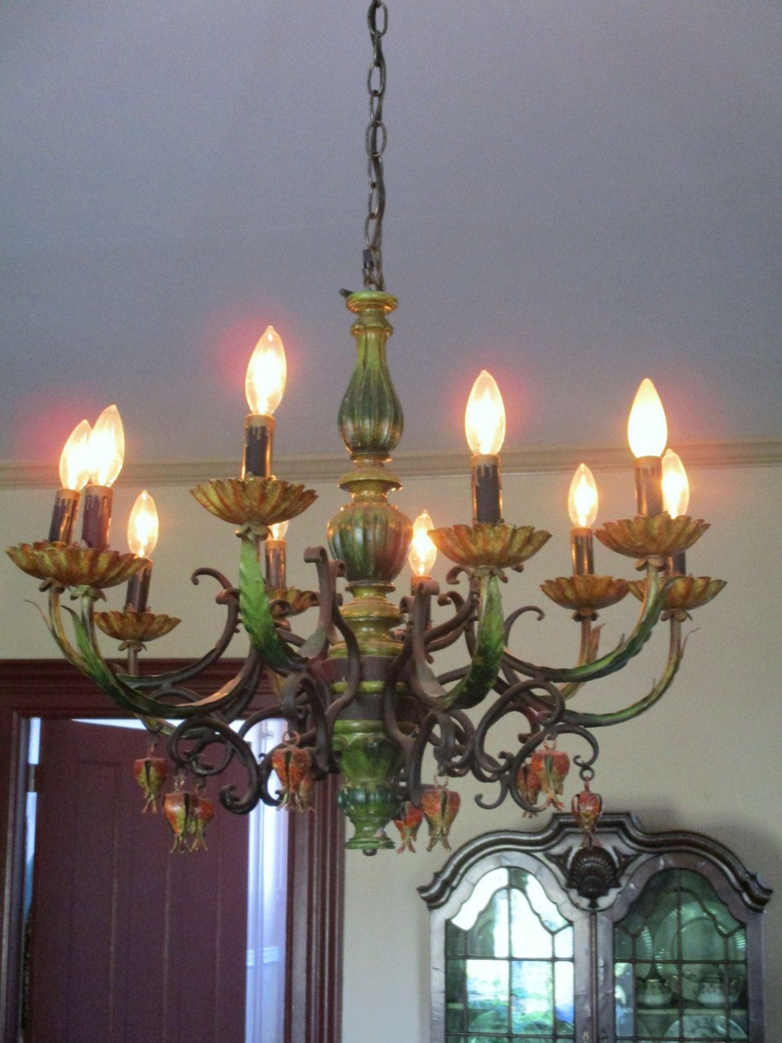 Vintage Italian Tole Chandelier Huge 10 Arm Light Retro Colors Farmhouse Chic by SimplyCottageChic on Etsy