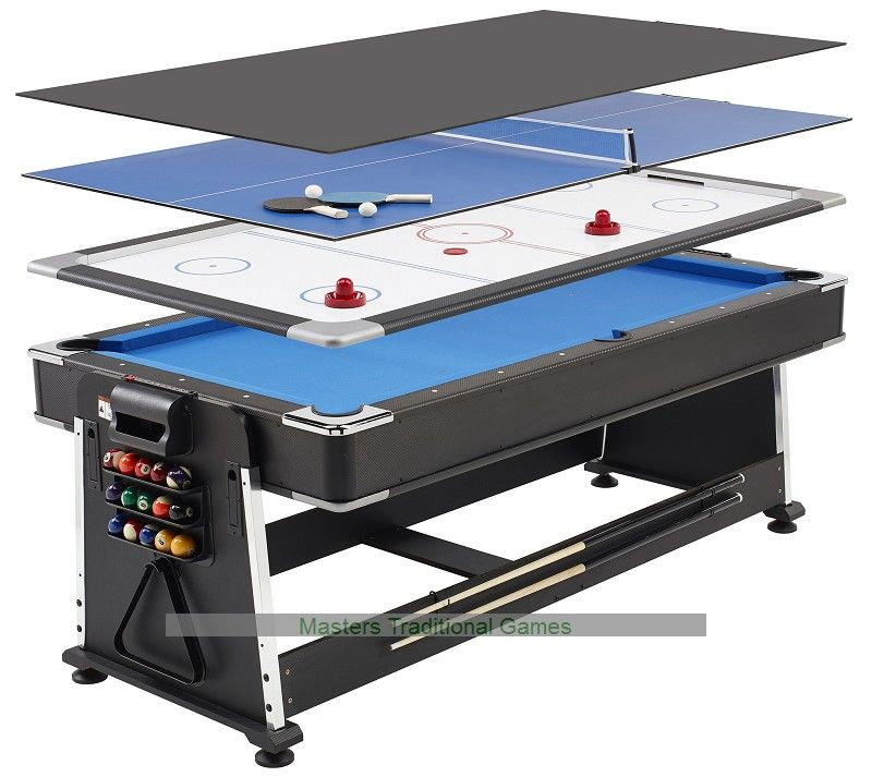Superior Full Size Professional Multigames Table Comprising Pool, Air Hockey U0026 Table  Tennis   Only Requires The Floor Space Of One Table.
