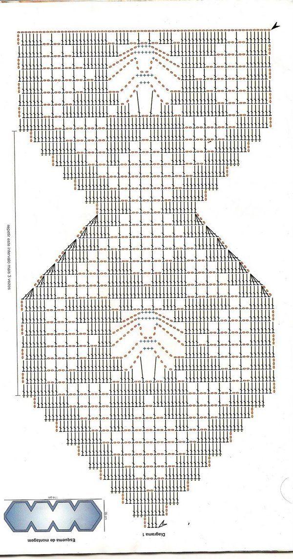desenho de flores para caminho de mesa de crochecom grafico ...
