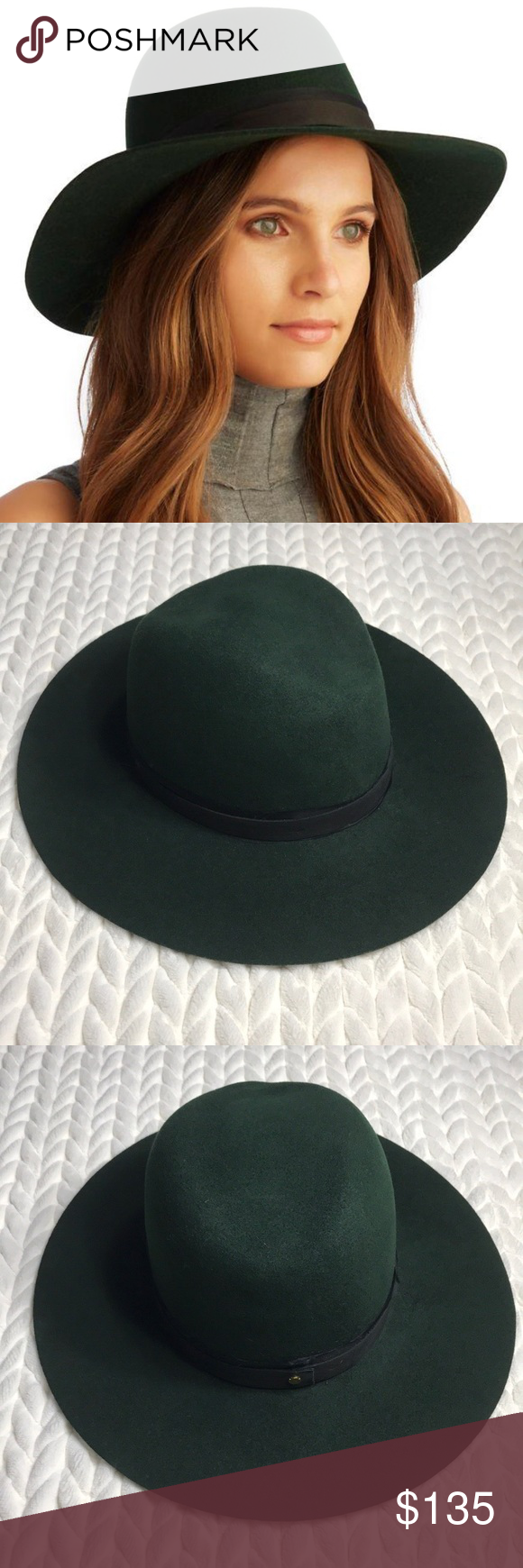 fb100db1b2636 Janessa Leone Linda Wool Fedora In a classic fedora silhouette. Color  dark  forest green