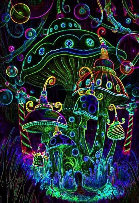 ☮ American Hippie ☮ Black light mushrooms