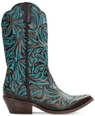 3dd7ab52242 Patricia Nash Bergamo Turquoise Tooled Western Mid-Shaft Boots ...