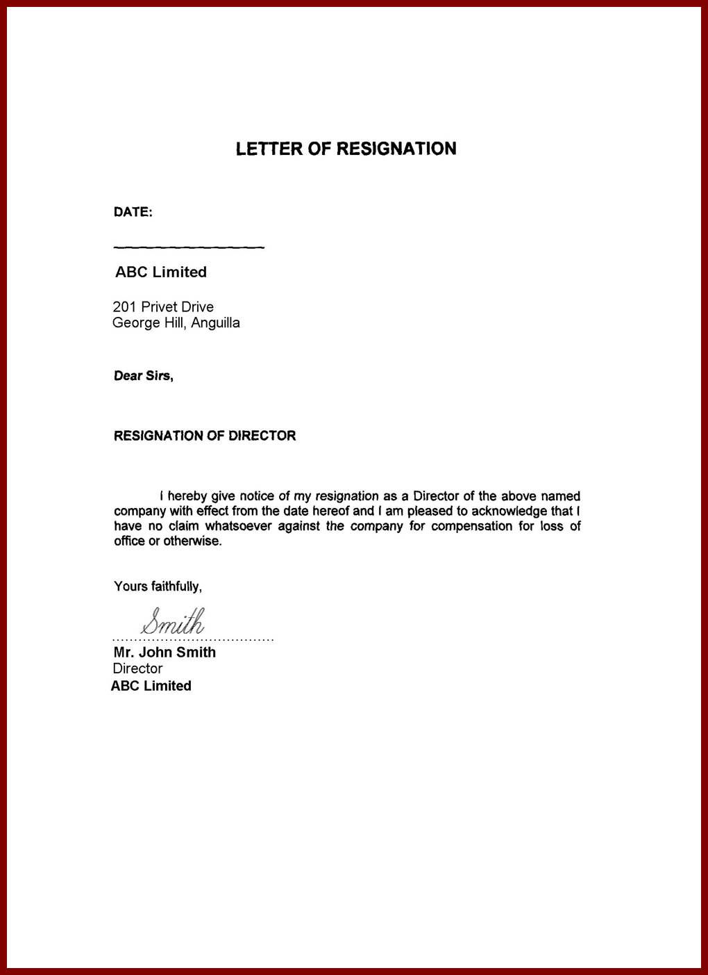 Image Result For Resignation Letter Word Format Family Reason Images