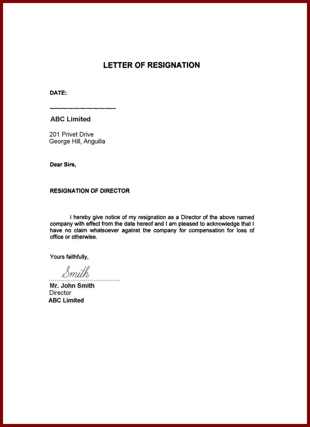 Image Result For Resignation Letter Word Format Family