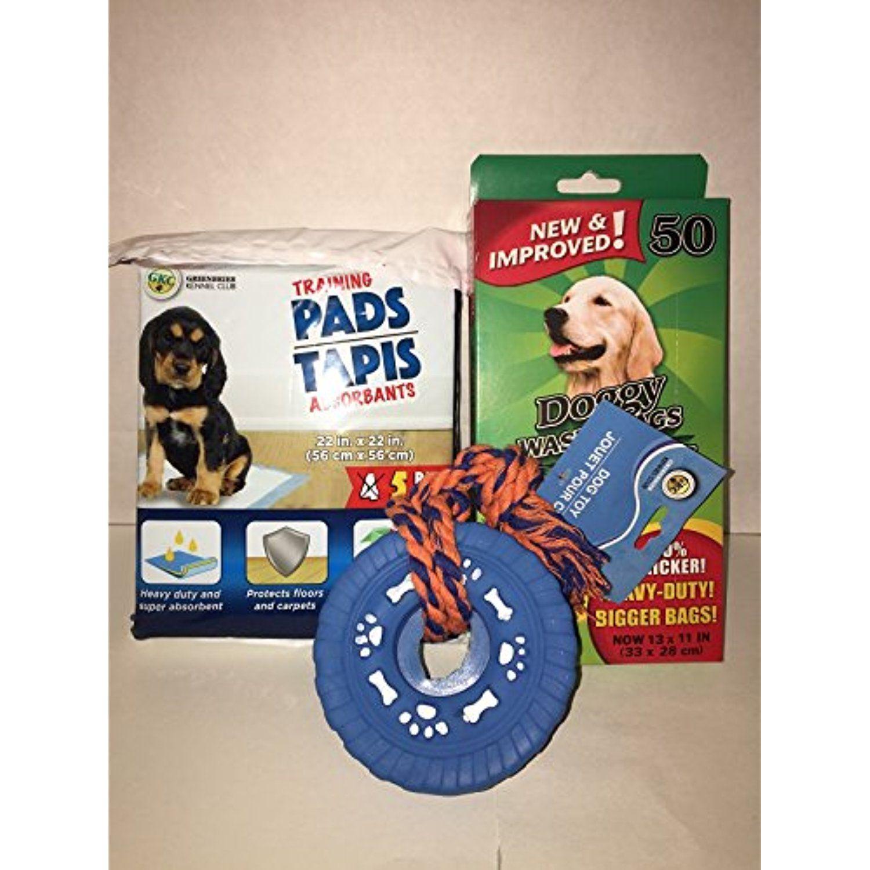 Pet bundle 3 piece set training pads waste bags dogtoys