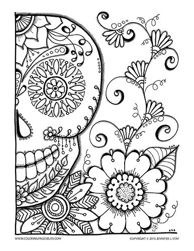 skull coloring page - Cinco De Mayo Skull Coloring Pages