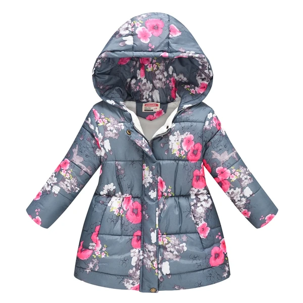 Toddler Baby Girl Boy Floral Print Winter Warm Jacket Hooded Windproof Coat