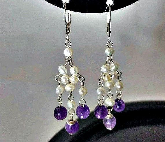 Pearl chandelier earrings- amethyst earrings-pearl earrings- pearl dangle earrings- sterling ear wires- February birthstone- gift for her
