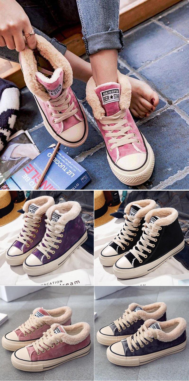 b88caac985e7b Ladies Shoes ·  45.99 USD Sale! Free Shipping! Shop Now! Womens Platform  Canvas Snow Sneakers Snow