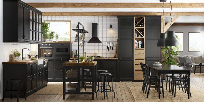 10 idées déco à piquer aux cuisines IKEA | Cuisine noire et bois, Cuisines design, Cuisine ikea