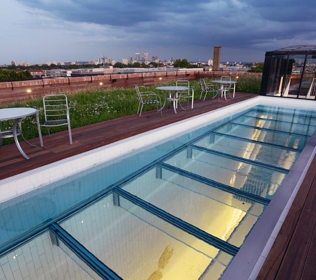 Sky Pool glass-bottomed pool london fields moves into the rooftop #swimming