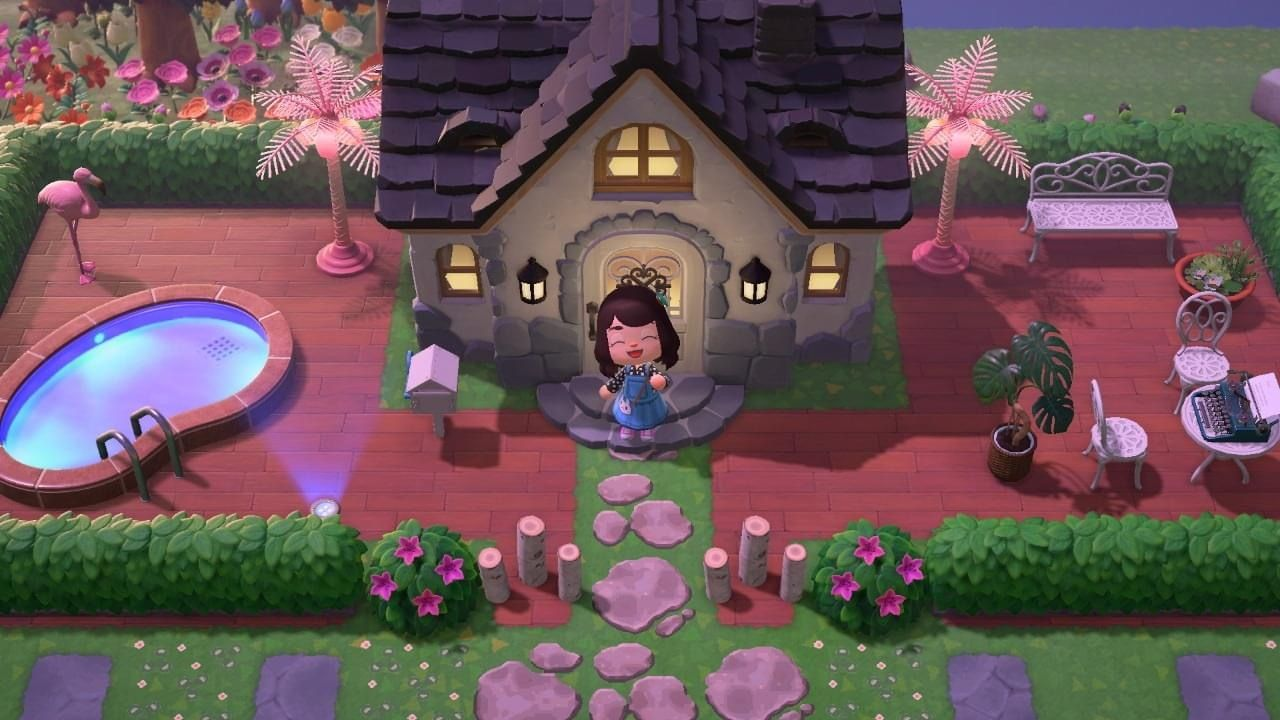 Animal Crossing House Outdoor Casa In 2020 Animal Crossing Backyard Animals New Animal Crossing