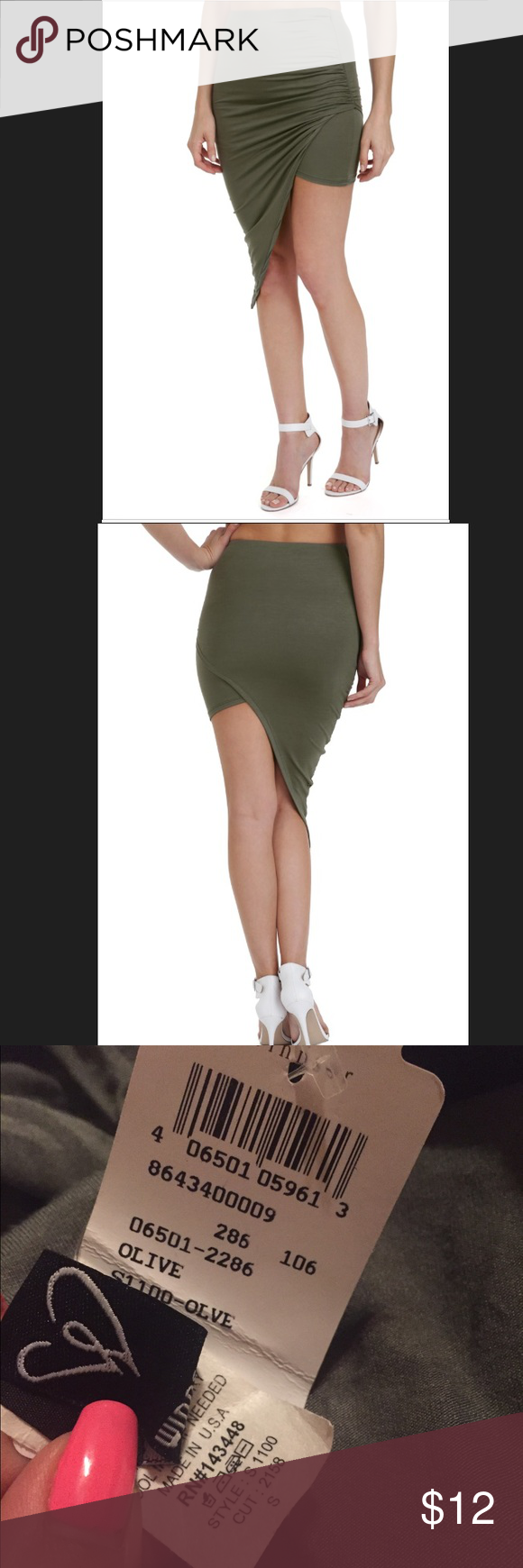 Windsor asymmetrical olive green skirt NWT Windsor asymmetrical olive green skirt. The perfect olive green so in season. Pair it with white, cream, gold, brown or black. NWT. WINDSOR Skirts Asymmetrical