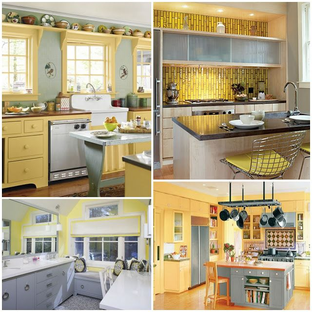 Yellow gray kitchen inspiration photos pearl designs for Yellow and gray kitchen