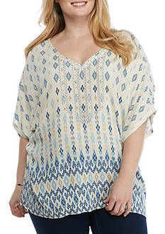 087d340031e23 Ruby Rd Plus-Size Blues Traveler Dolman Sleeve Printed Crepe Top ...