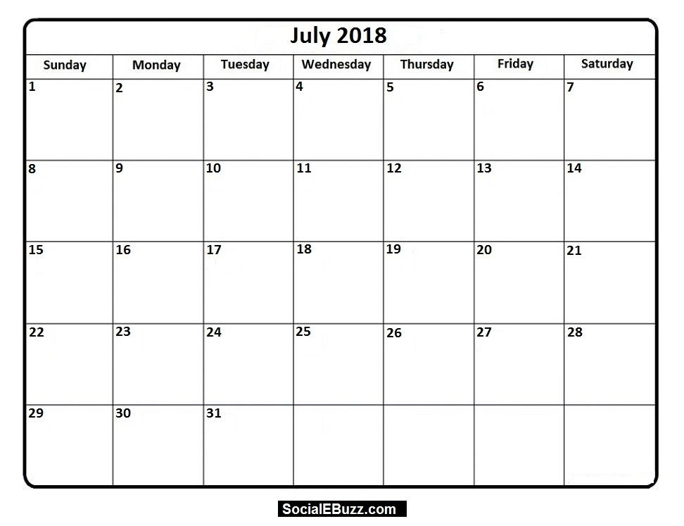 July 2018 Calendar Printable Template, July Calendar 2018, July - vacation calendar template