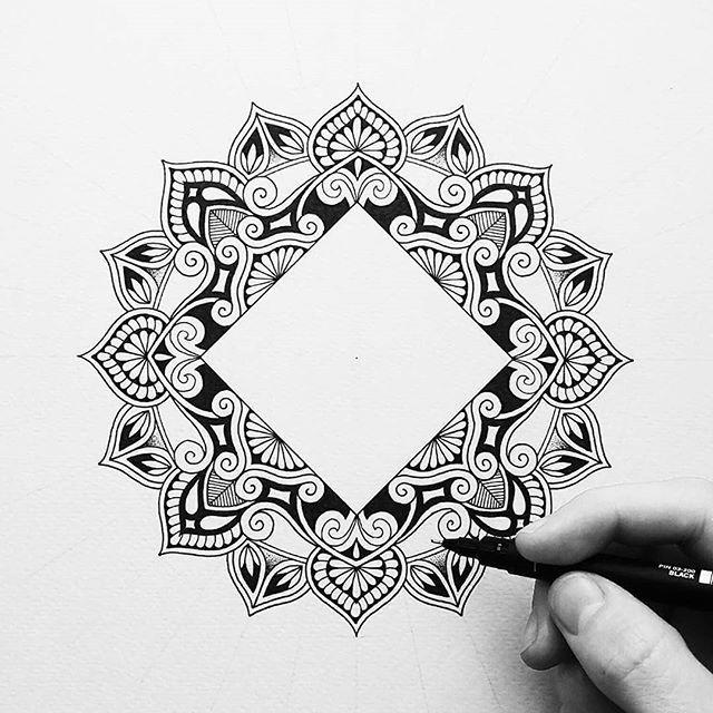 Mandala Rectangle Whitespace Zendoodle Design | Ceramic tiles ...