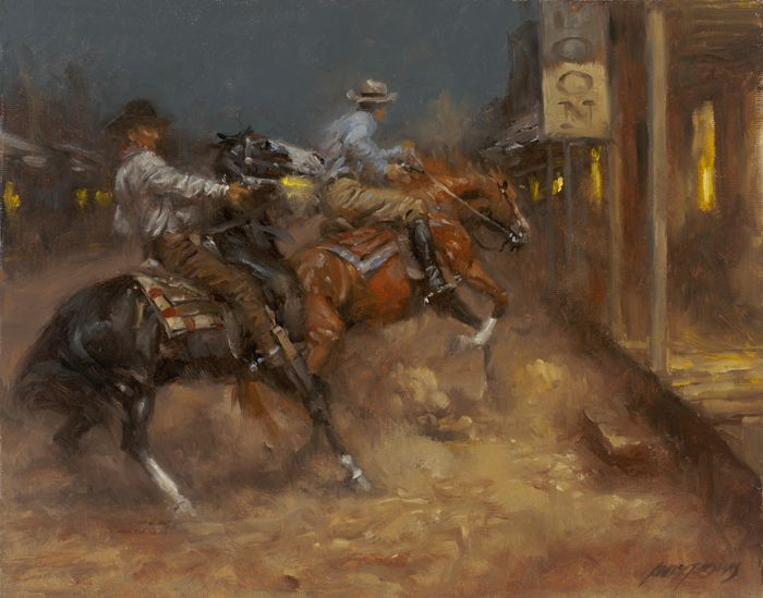 late night escapade western oil painting by andy thomas