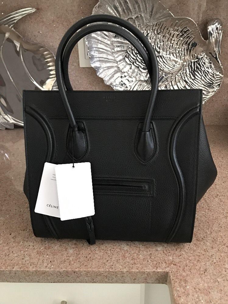 7b611679d4 CELINE Phantom Luggage Handbag In Black Leather