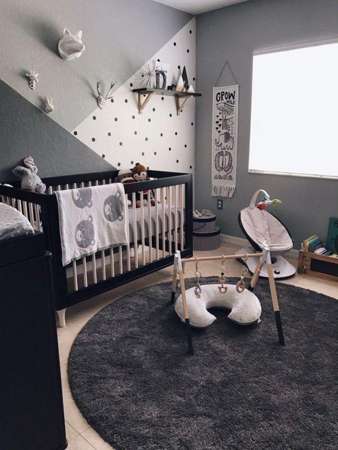 un degrade de gris des formes geometriques des inspirations sympa pour decorer une chambre d enfant de facon intemporelle 100 idees deco pour une
