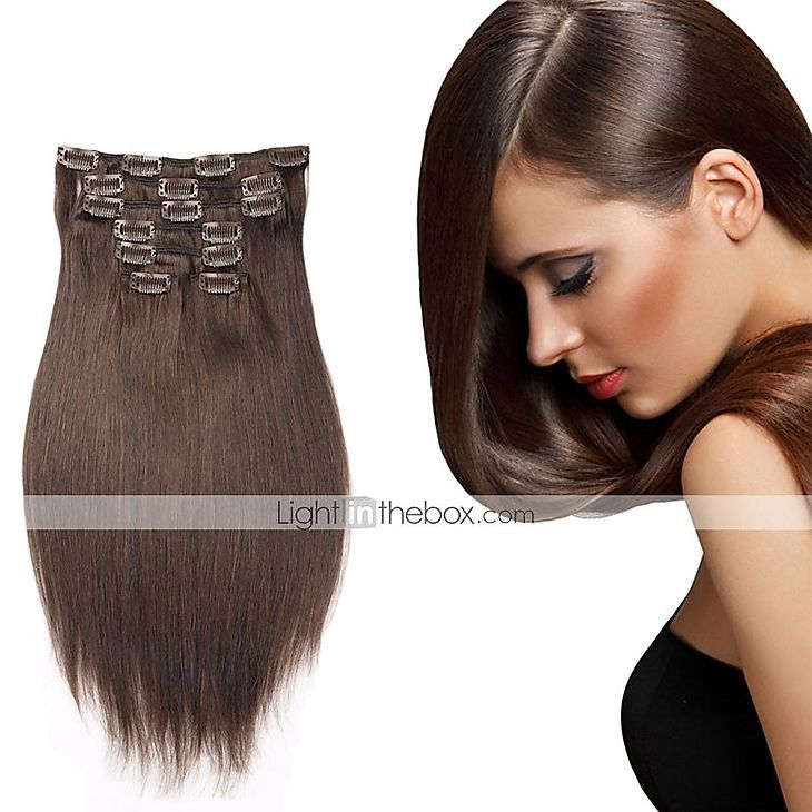 """16""""-22"""" Clip In Human Hair Extension 7pcs/100g Straight Hair Brazilian Human Hair Extension 5110638 2016 – $49.70"""