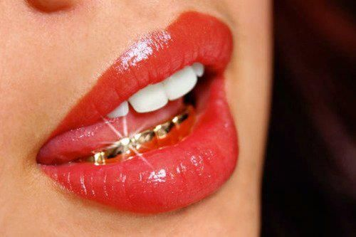 Red Lips Gold Teeth Grillz Gold Teeth Gold Grill