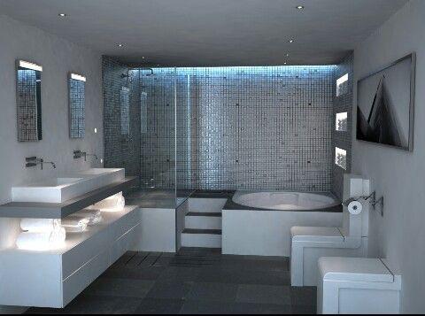 Distribución del baño ideal con jacuzzi | Futuro | Baños con ...