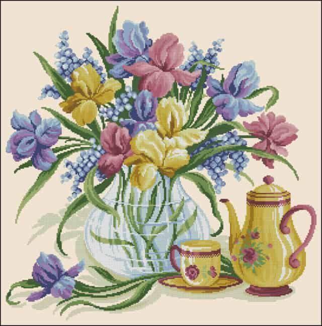 Irises in a vase-free cross-stitch pattern -  Irises in a vase-free cross-stitch... -  Irises in a vase-free cross-stitch pattern –  Irises in a vase-free cross-stitch pattern | Free C - #Clematis #cross #crossstitch #Daffodils #EnglishRoses #Gladioli #Irises #pattern #stitch #Tulipi #vasefree