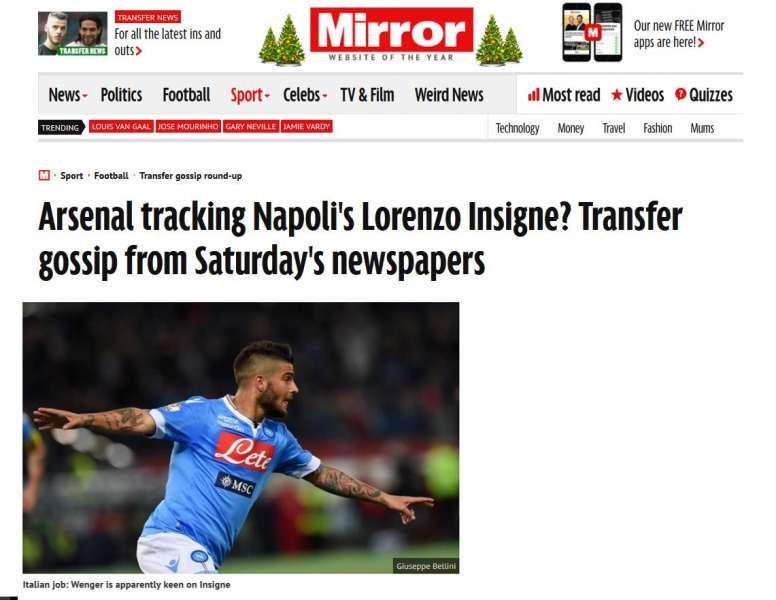 Mirror Wenger vuole Insigne, ma il giocatore dice no