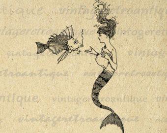 Sirena digital imagen gráfica sirena e ilustración para imprimir peces descargar antiguas imágenes prediseñadas para transferencias HQ 300dpi No.3800
