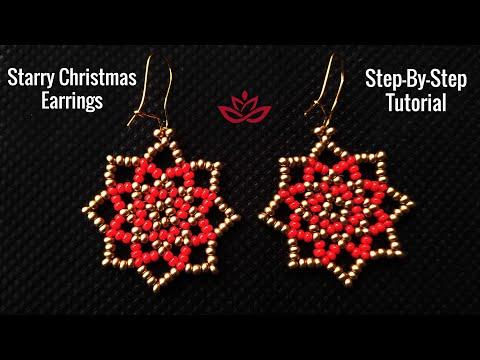 Starry Christmas Earrings – Tutorial. How to make DIY beaded earrings?