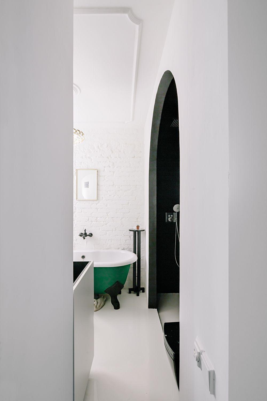 White bathroom with a green tub// | decor | Pinterest | Tubs, Bath ...