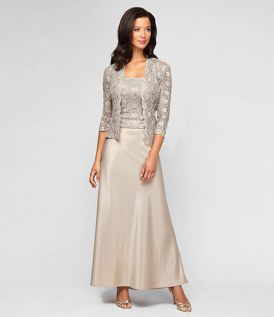 Lace dress jacket  ChampagneAlex Evenings Lace u Charmeuse Jacket Dress  Wedding