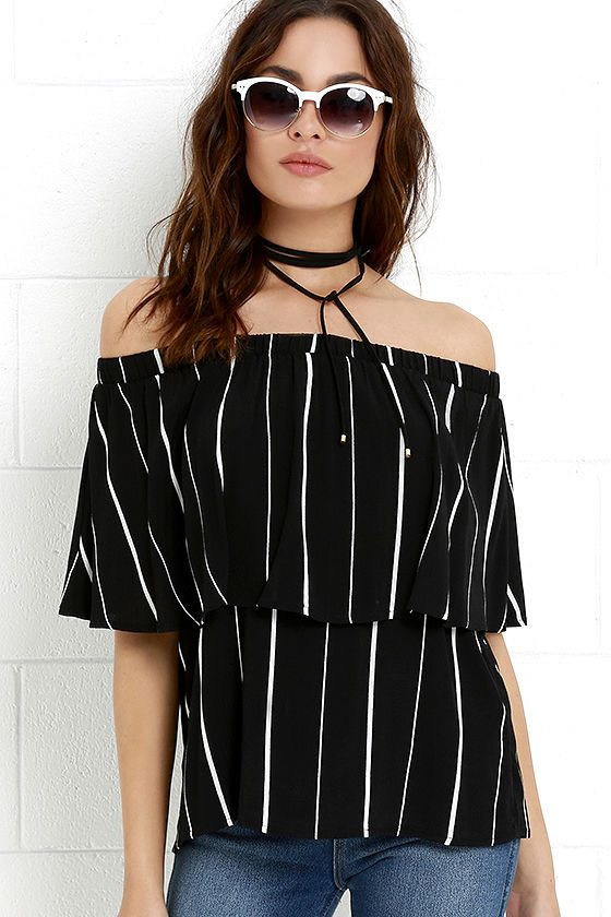 dc108da33315f Heat is On Ivory and Black Striped Off-the-Shoulder Top
