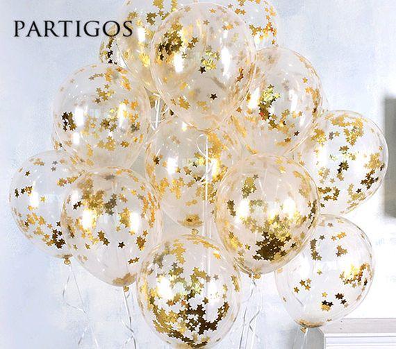 Pas cher 5 pcs Transparent Latex Ballons 10g Feuille Confettis de