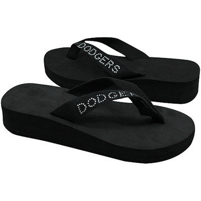 ebda5c9c95bb L.A. Dodgers Ladies Bling Wedge Flip Flop - Black