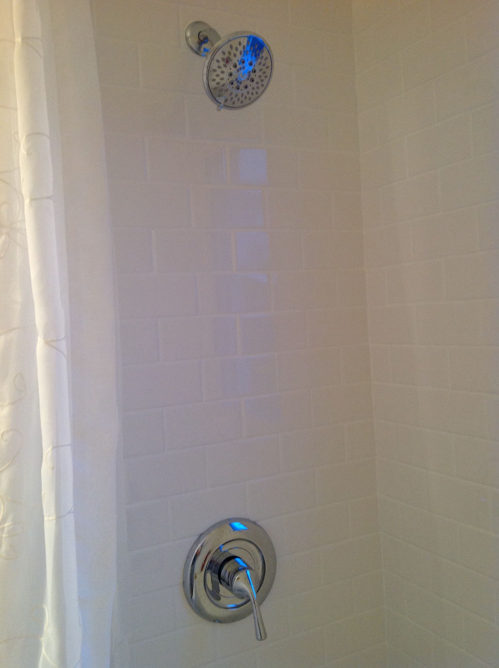 Subway Tile and Bright White Grout Home Depot Pfister
