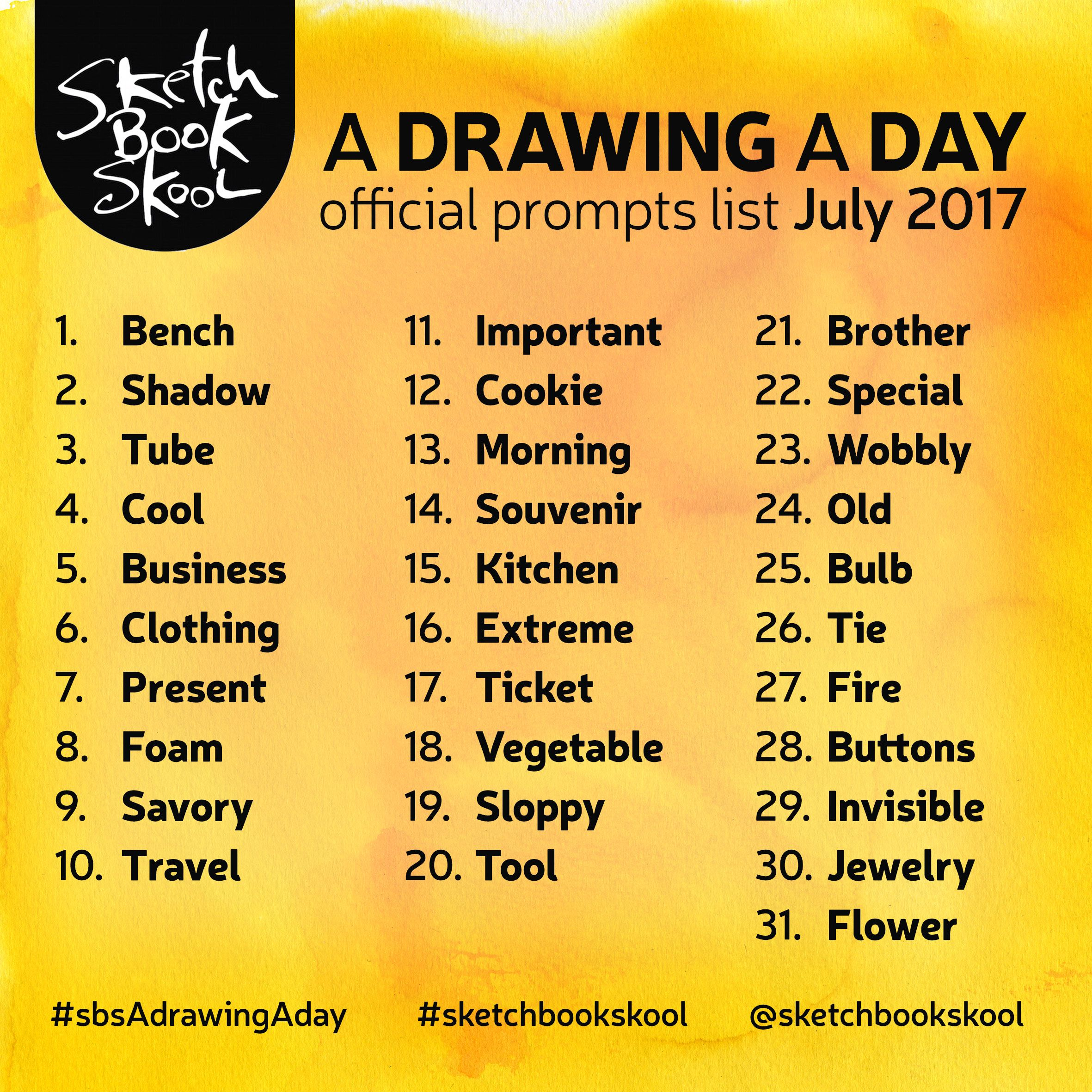 Here Are The Drawing A Day Challenge Prompts For The Month Of July Drawing Challenge Drawing Prompt Creative Drawing Prompts