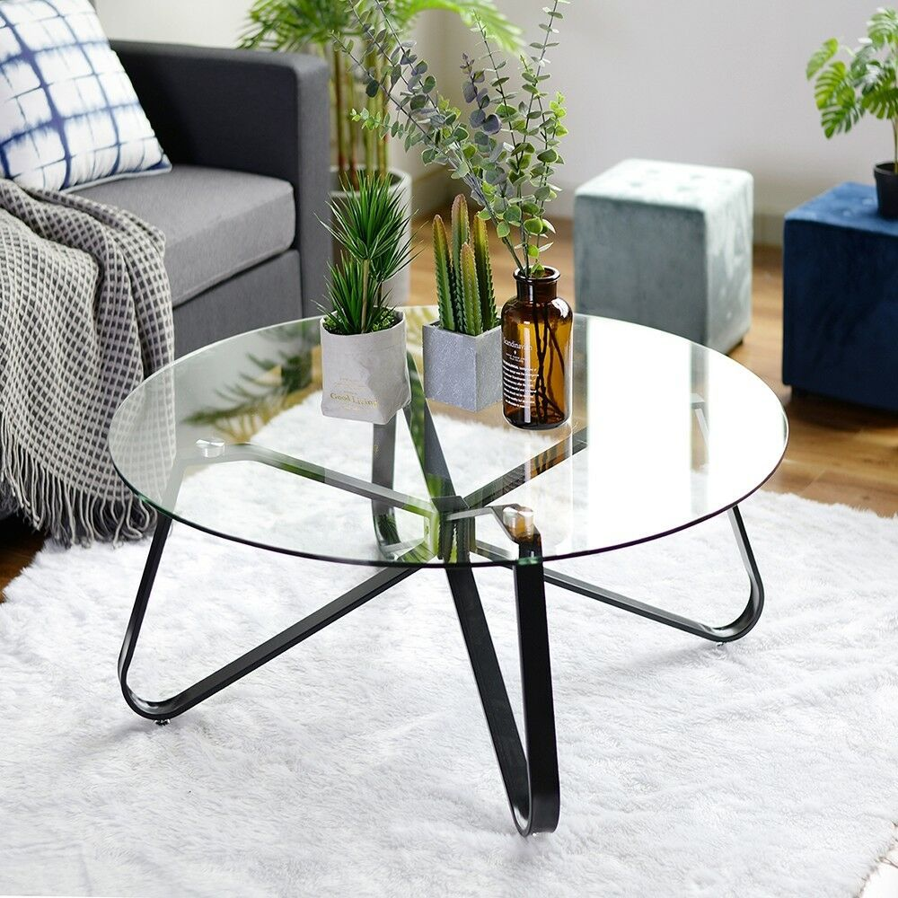 Clear Tempered Glass Round Coffee Table 40cm Height 80x80 Size Black Metal Legs Glass Table Living Room Round Coffee Table Modern Glass Coffee Table [ 1000 x 1000 Pixel ]