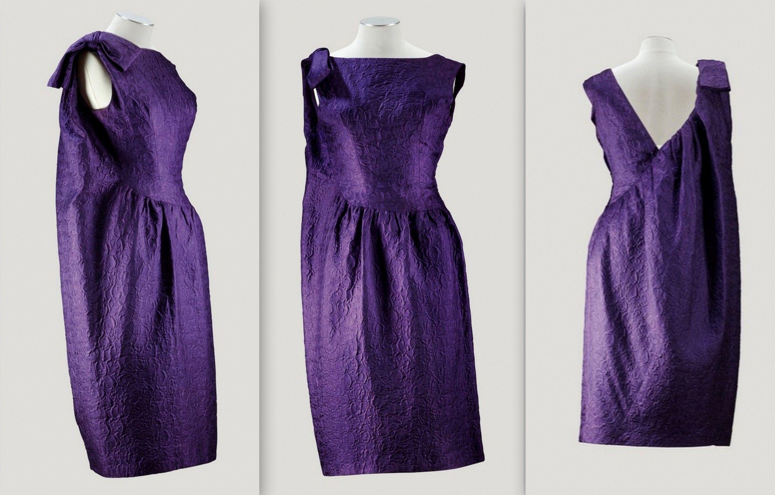 1962 Balenciaga Haute Couture, A PURPLE CLOQUÉ SILK COCKTAIL DRESS ...