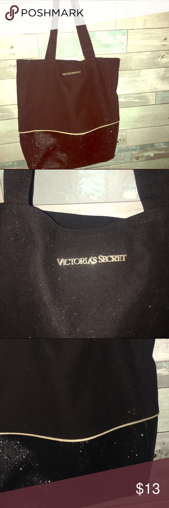 VS Shimmer Black Tote✨ NWOT. No damage no stains make me an offer it's brand new reasonable please . PINK Victoria's Secret Bags Totes