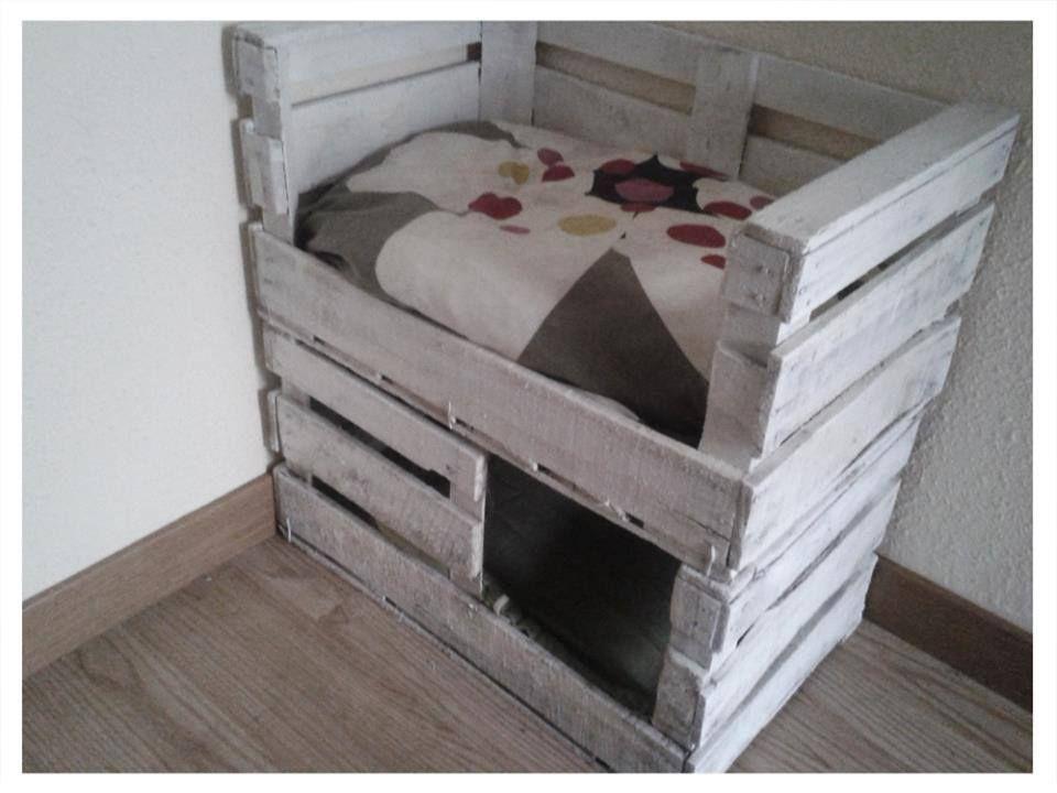 Cama para gato con caja de fruta manualidades - Sofas para gatos ...