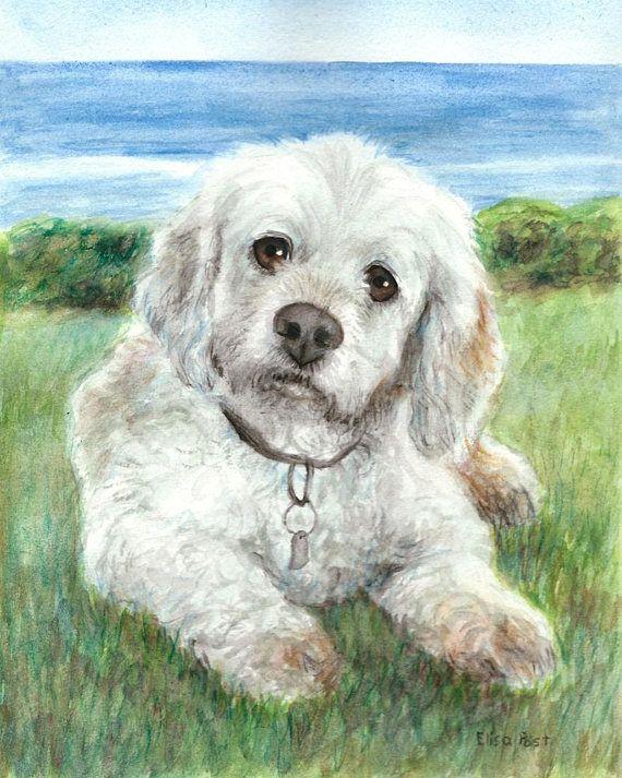 Watercolor Dog Portrait Custom Pet Portrait Watercolor Dog