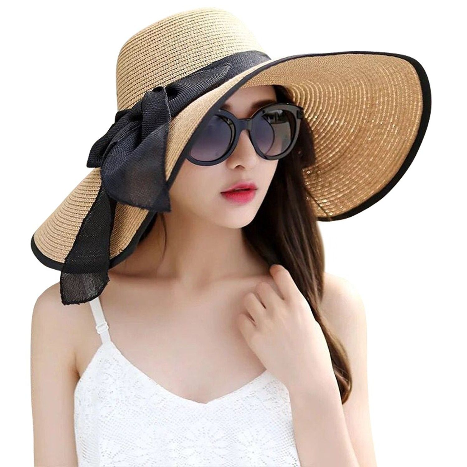 e0a966535d8 Womens Big Bowknot Straw Hat Foldable Roll up Sun Hat Beach Cap UPF ...