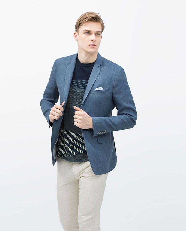 look zara avec blazer et pantalon en lin t shirt en coton. Black Bedroom Furniture Sets. Home Design Ideas