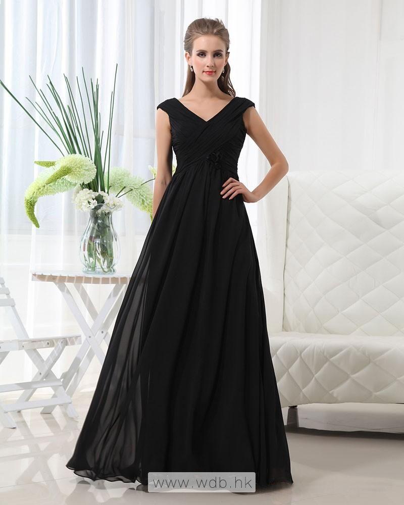 Vneck floor length chiffon bridesmaid dress