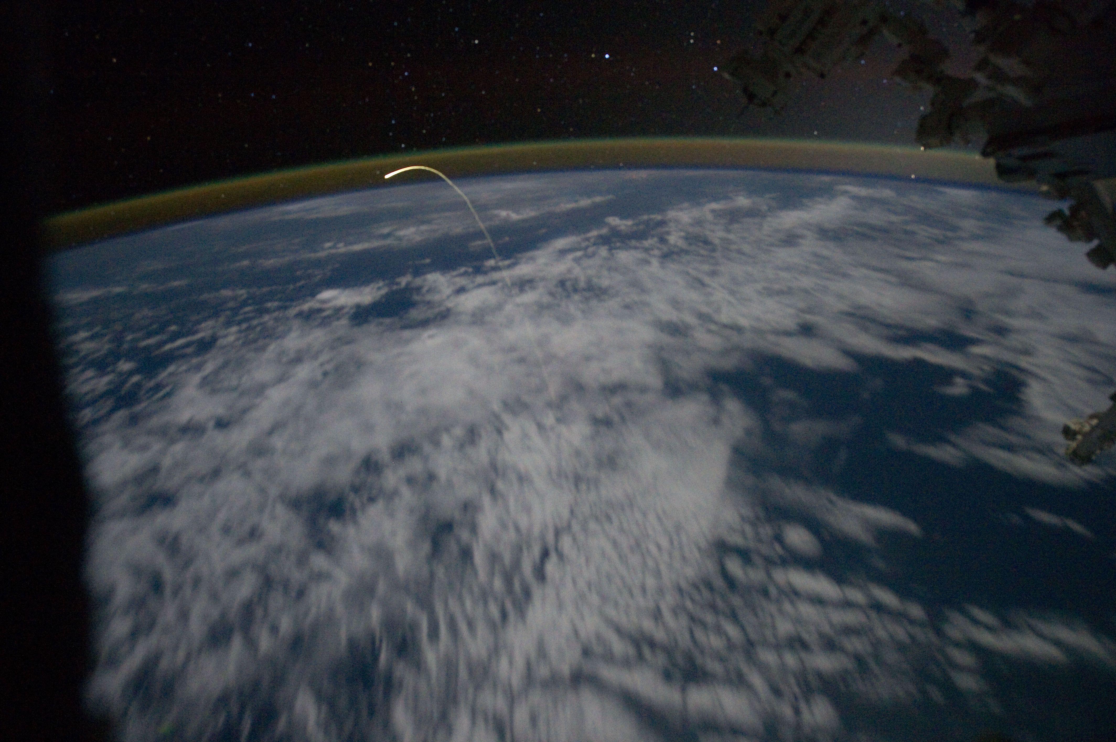 Atlantis plasma trail seen from ISS