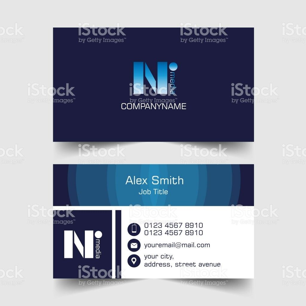 Business Card With Letter N Symbol Lettering Letter N Business Card Template